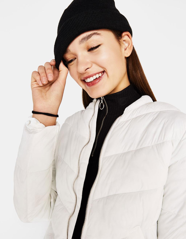 Puffer jacket with round neckline