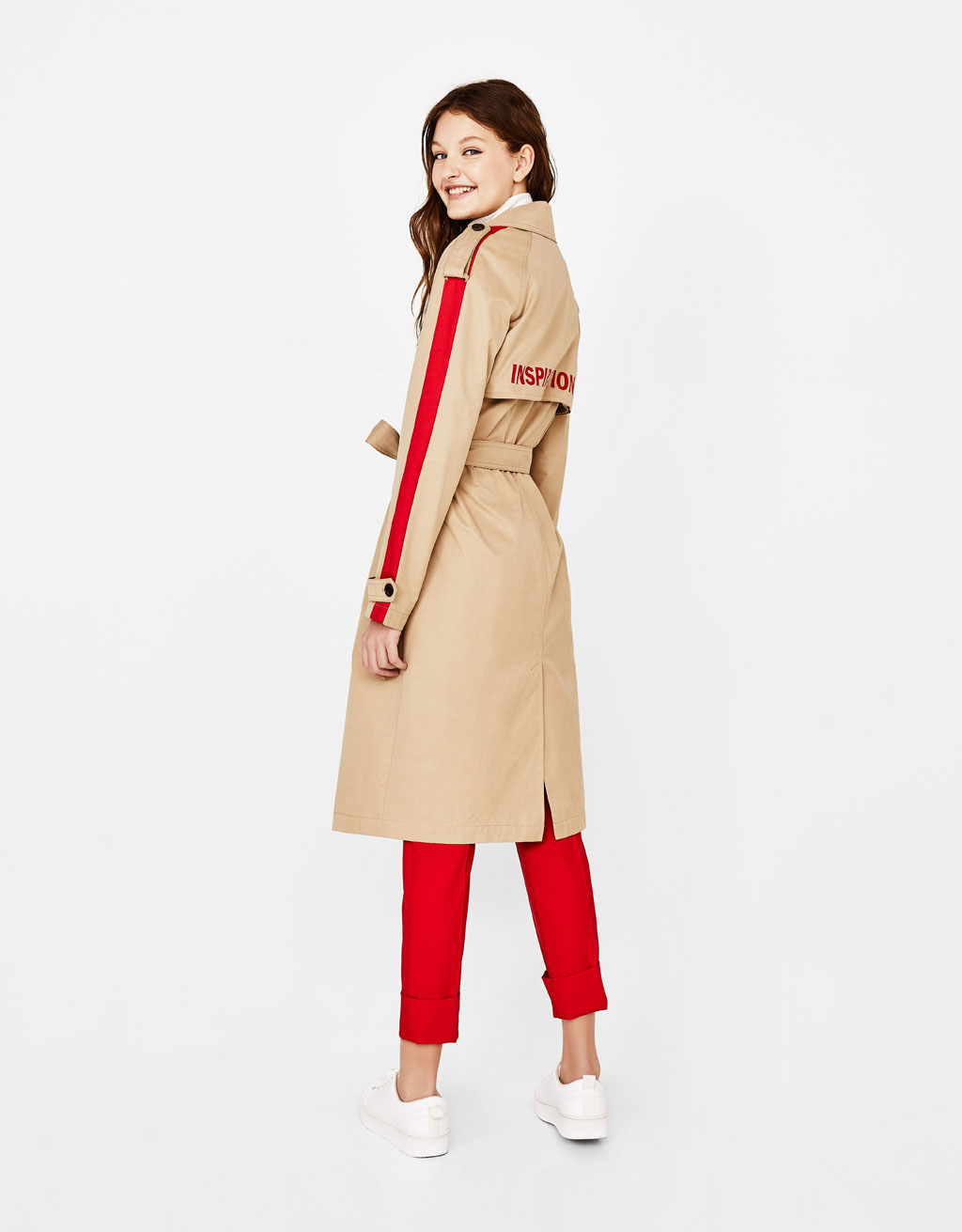 Trench coat with printed slogan