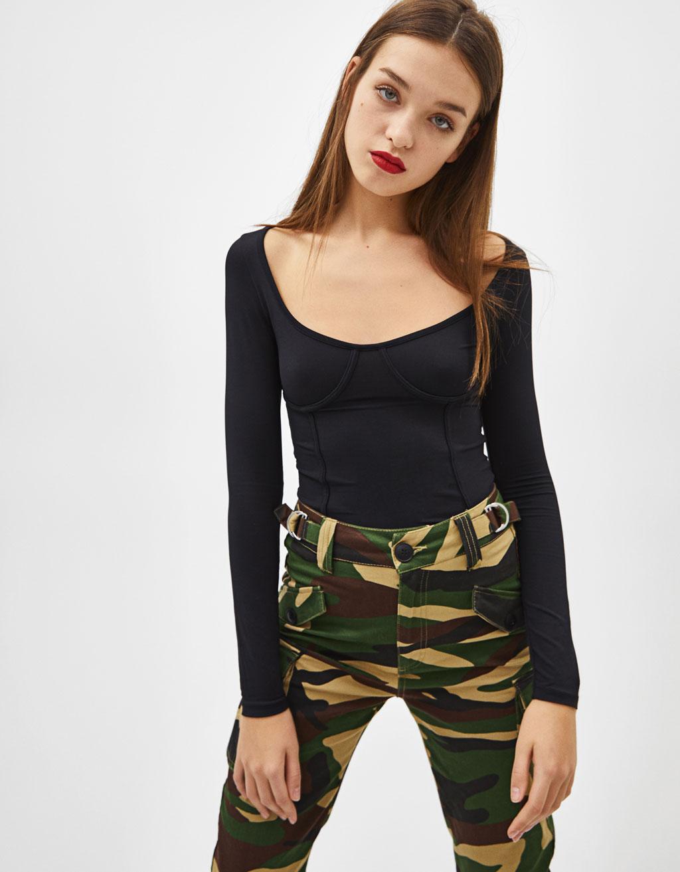 Corset-style seamed bodysuit