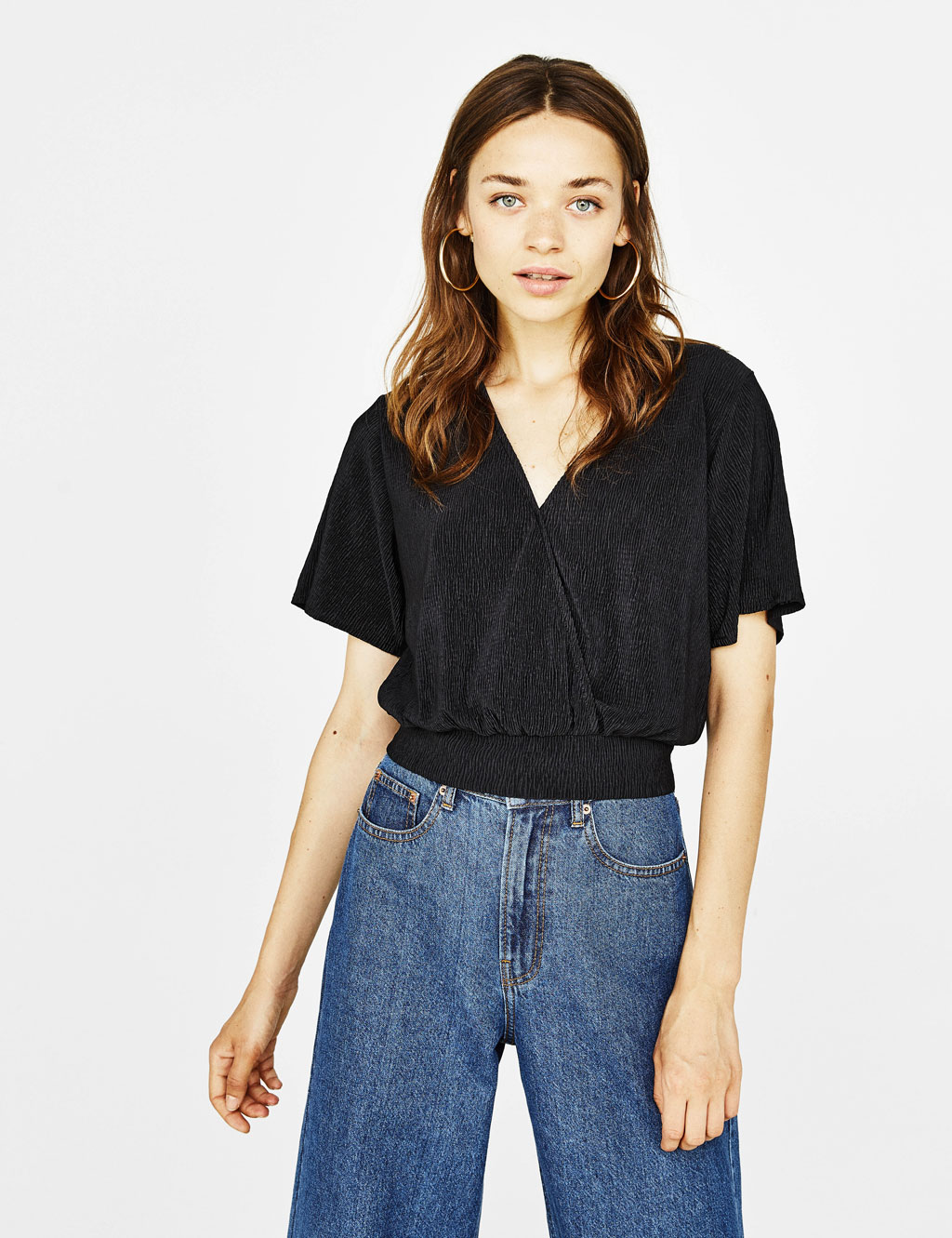 Crepe T-shirt with tied detail
