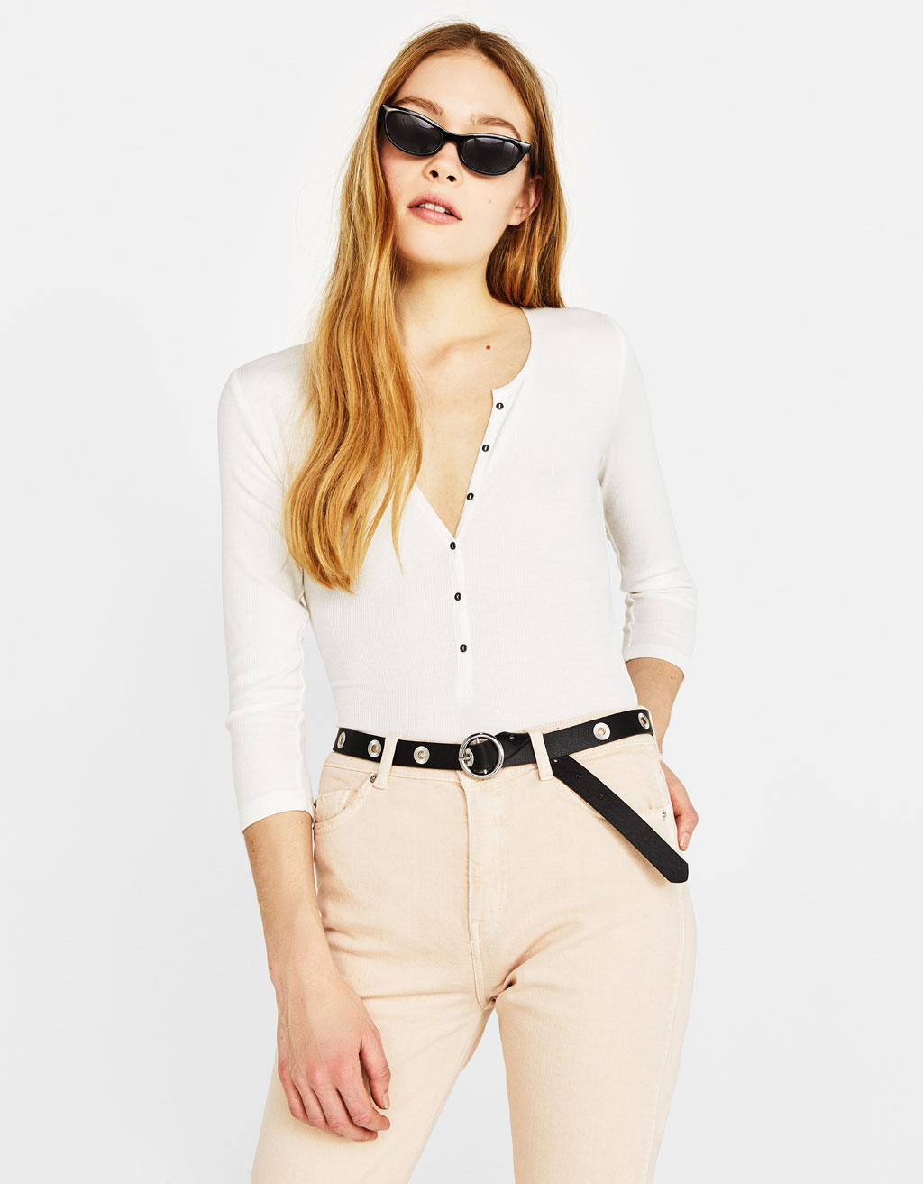 Ribbed bodysuit with button-up front