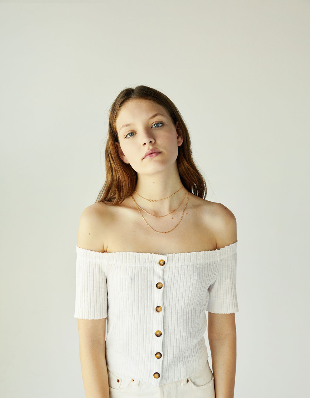 Ribbed top with bardot neckline and buttons