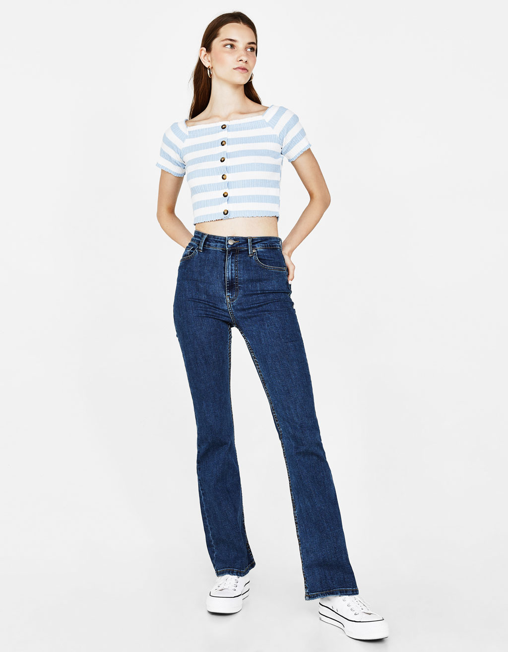 Ribbed button-up T-shirt with Bardot neckline