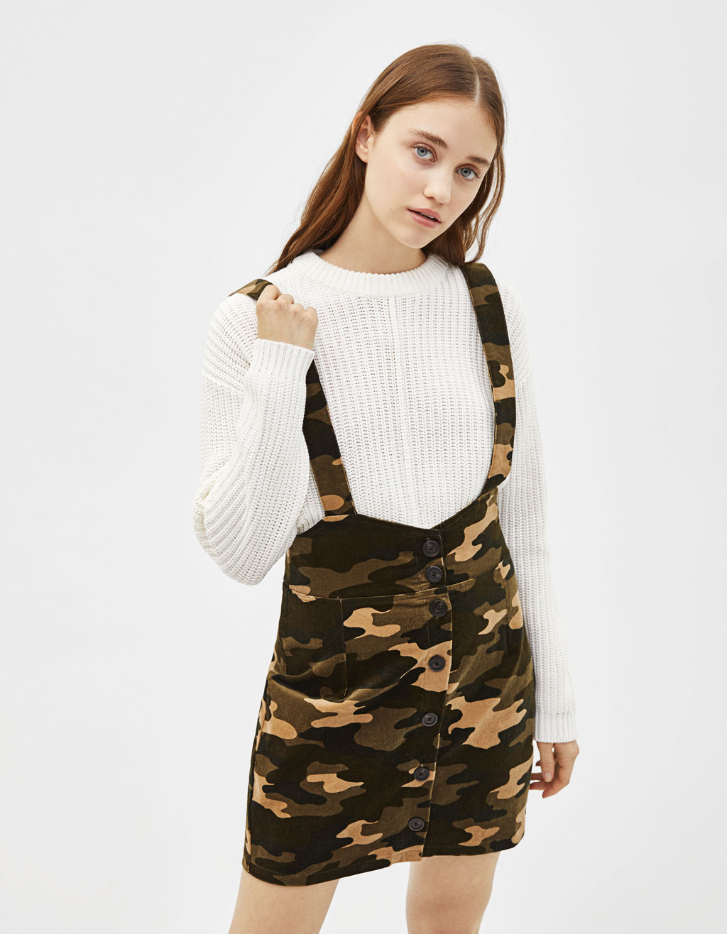 Camouflage print corduroy pinafore dress