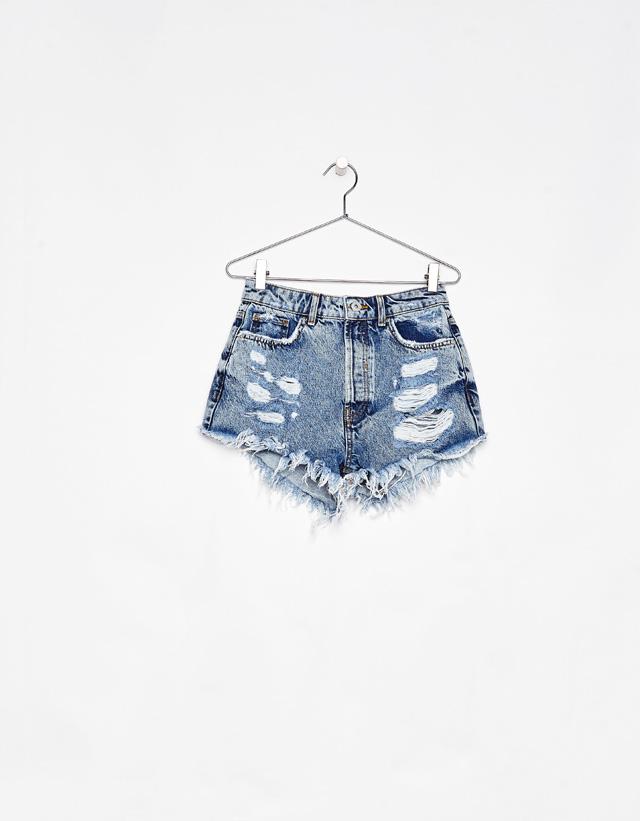 Jeans-Shorts mit hohem Bund im Vintagelook mit Rissen