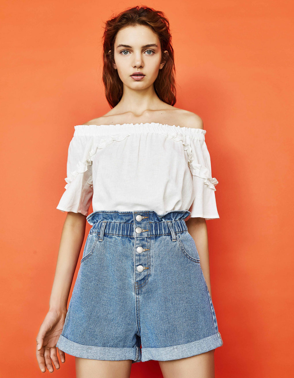 Denim paperbag Bermuda shorts