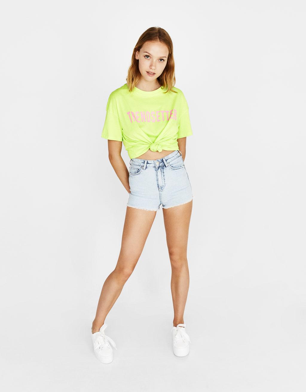 d5fc32c835 High waist shorts - Denim Collection - Bershka Ecuador