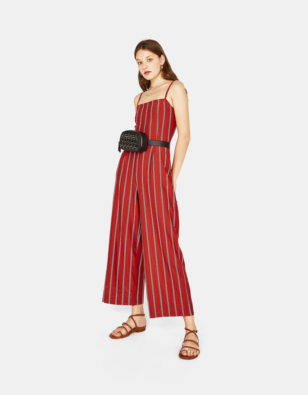 Long jumpsuit with thin straps