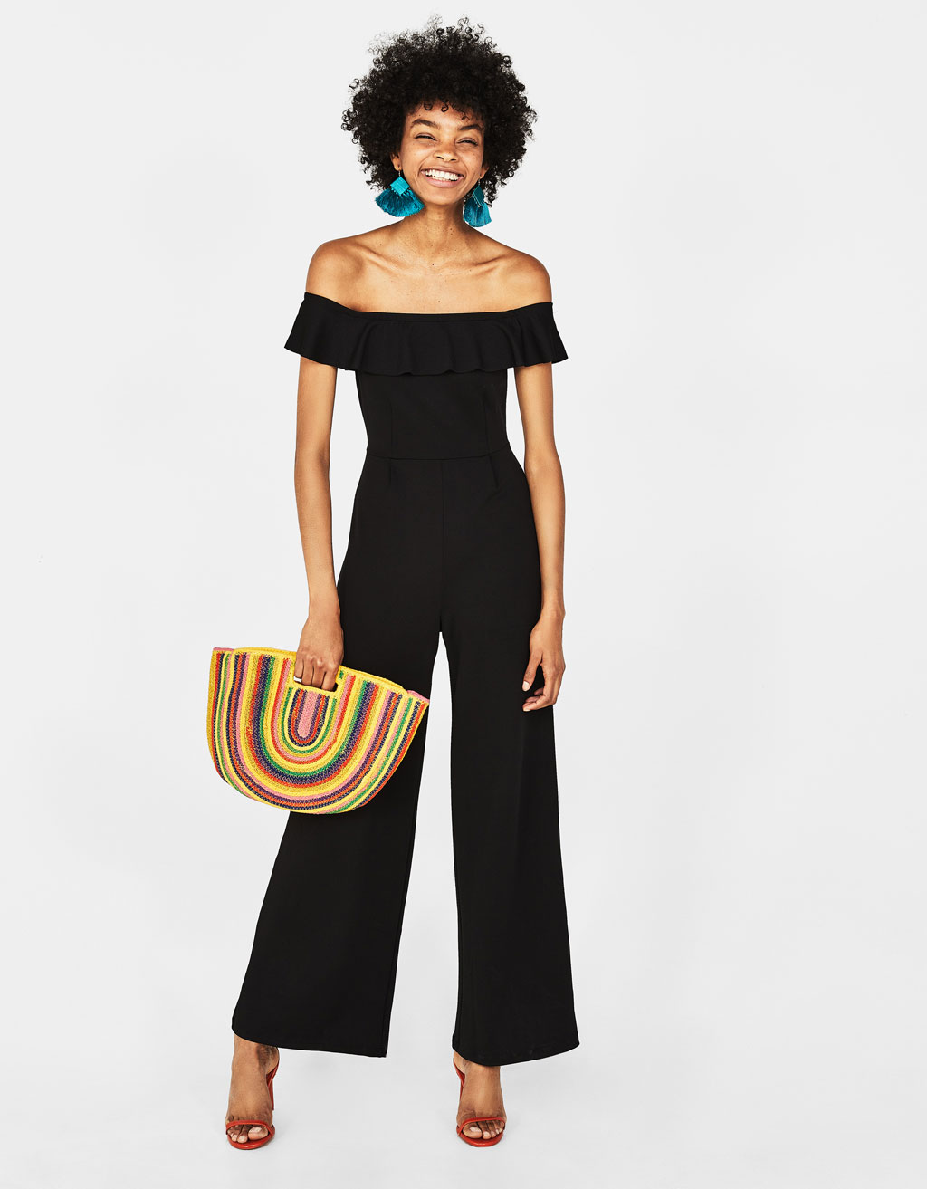 Long jumpsuit with ruffle trim