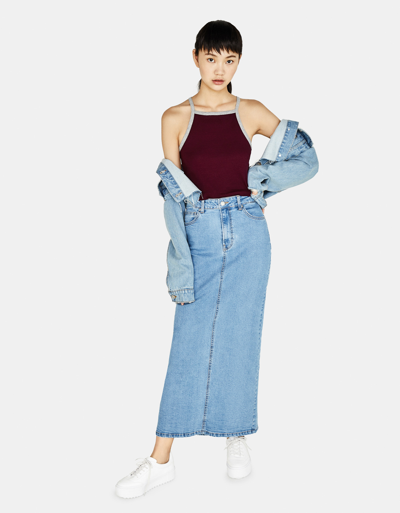 85a4b54a Ribbed halterneck top with contrasting trims - Tops - Bershka Macedonia