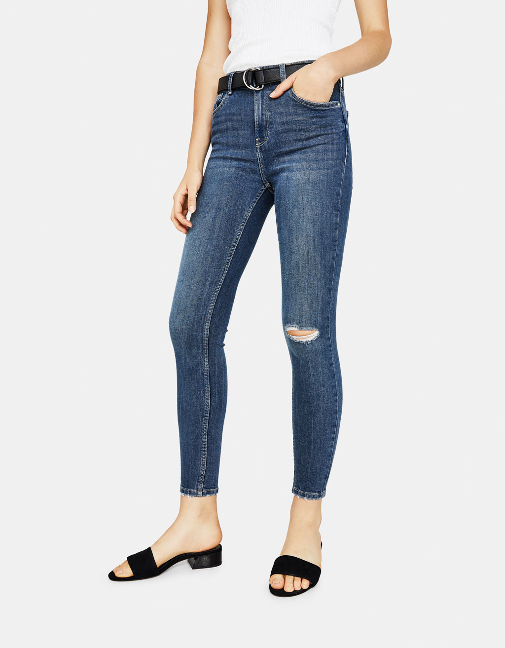 Jean skinny taille moyenne 5 poches