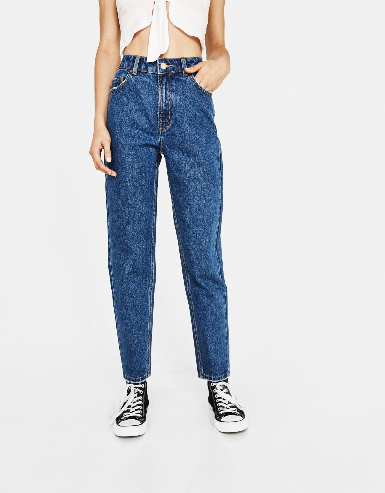 5bc73f89 High waist mom jeans - High Rise - Bershka Singapore