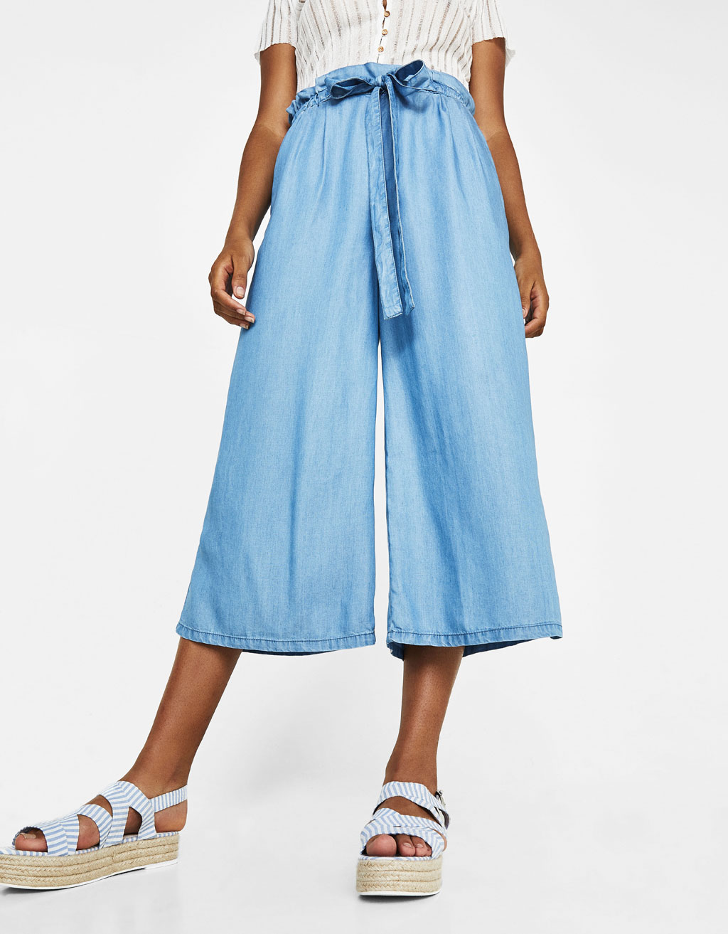 High-rise fit synthetic rayon culottes