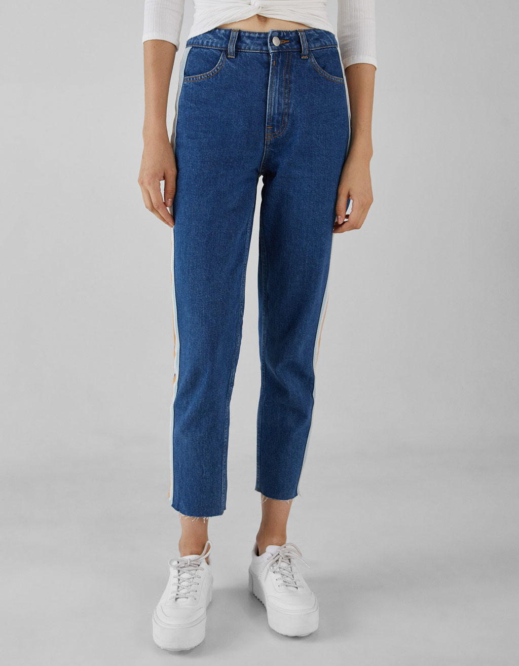 High waist mom jeans with side stripe