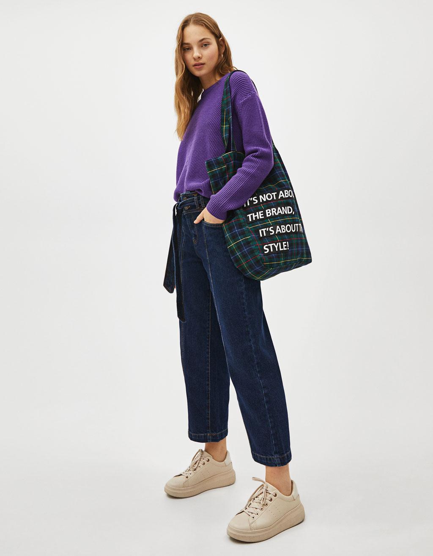 Jeans Culotte Mid Rise con cinturón