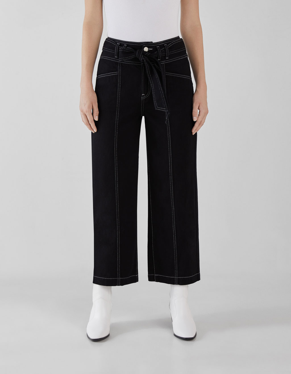 Mid waist culottes with belt