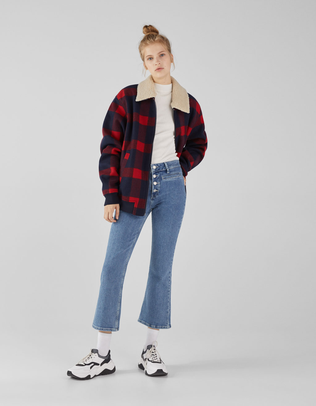 Kick flare high rise jeans with buttons