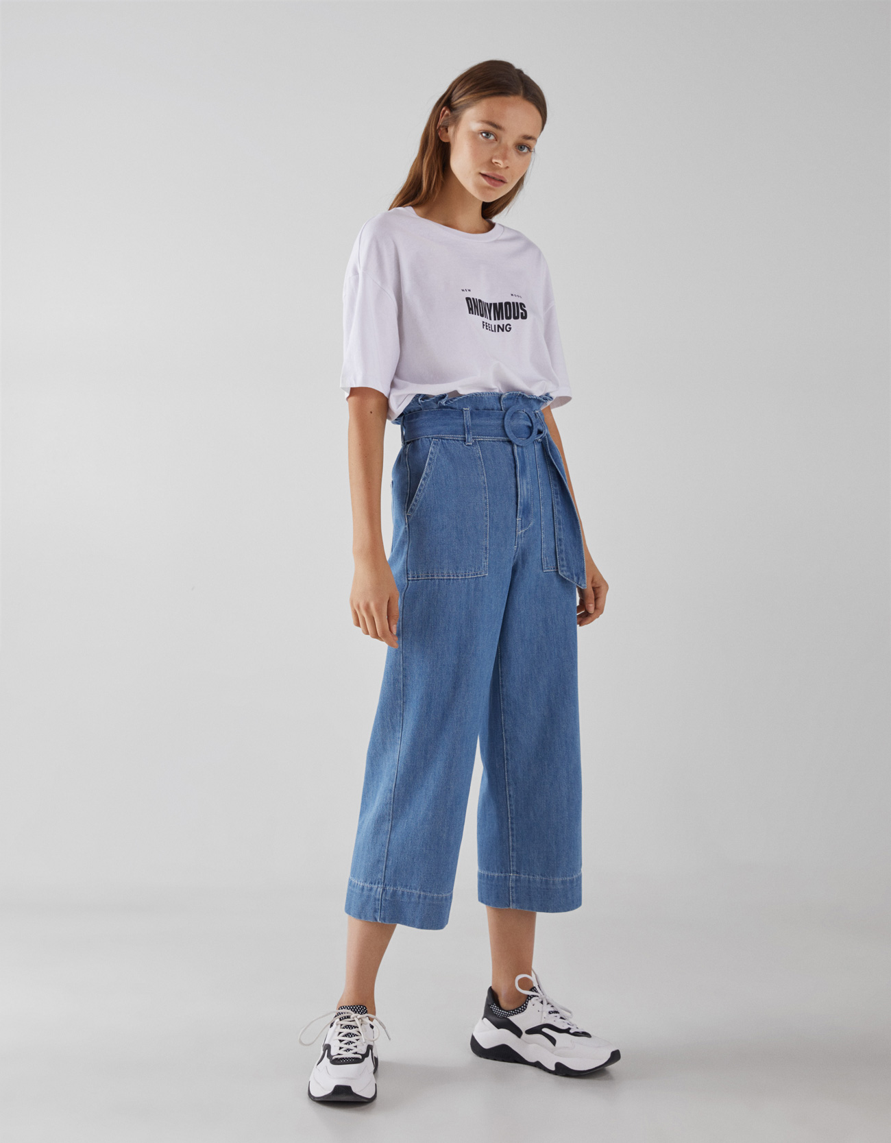 e2329de3e09 High-rise paperbag jeans - CLOTHING - Bershka Israel