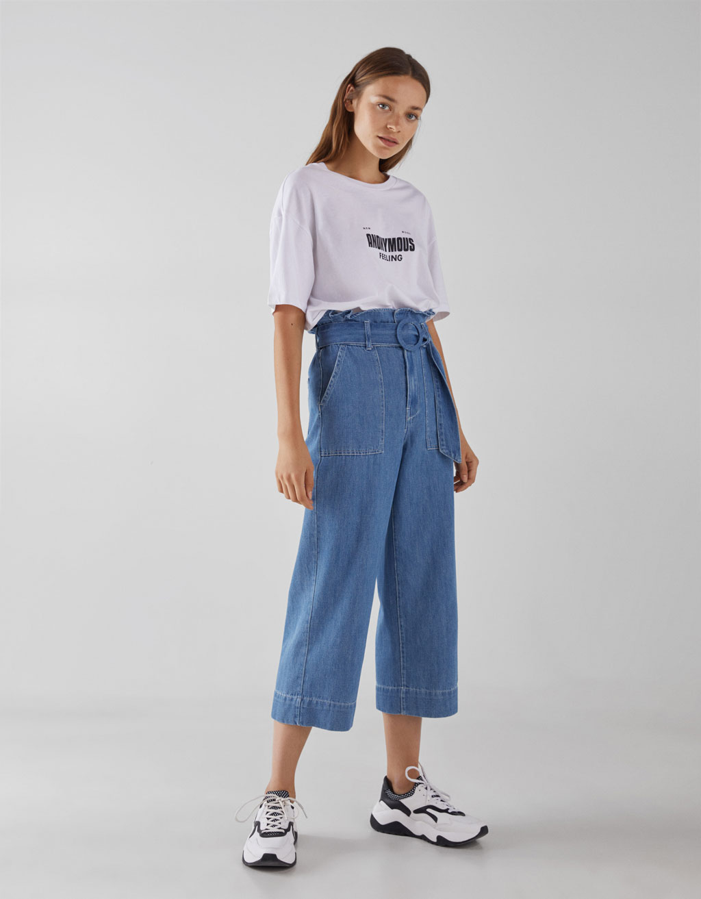 High waist paper bag jeans with belt
