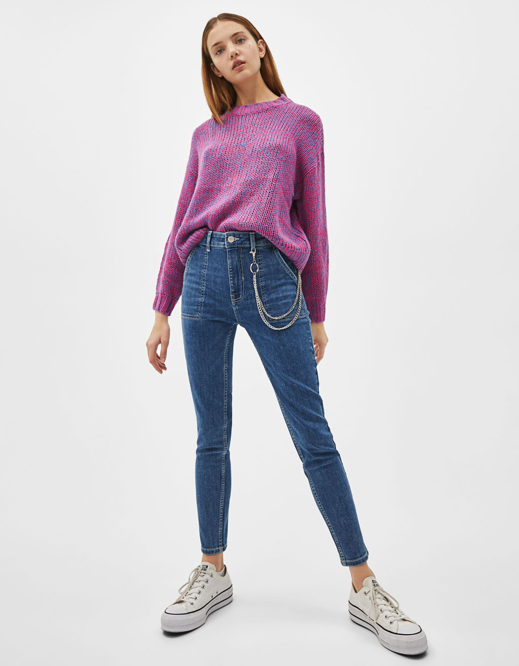 Mid-rise skinny jeans with chains