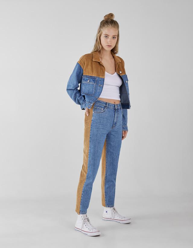 Mom-Jeans mit hohem Bund und Corddetail