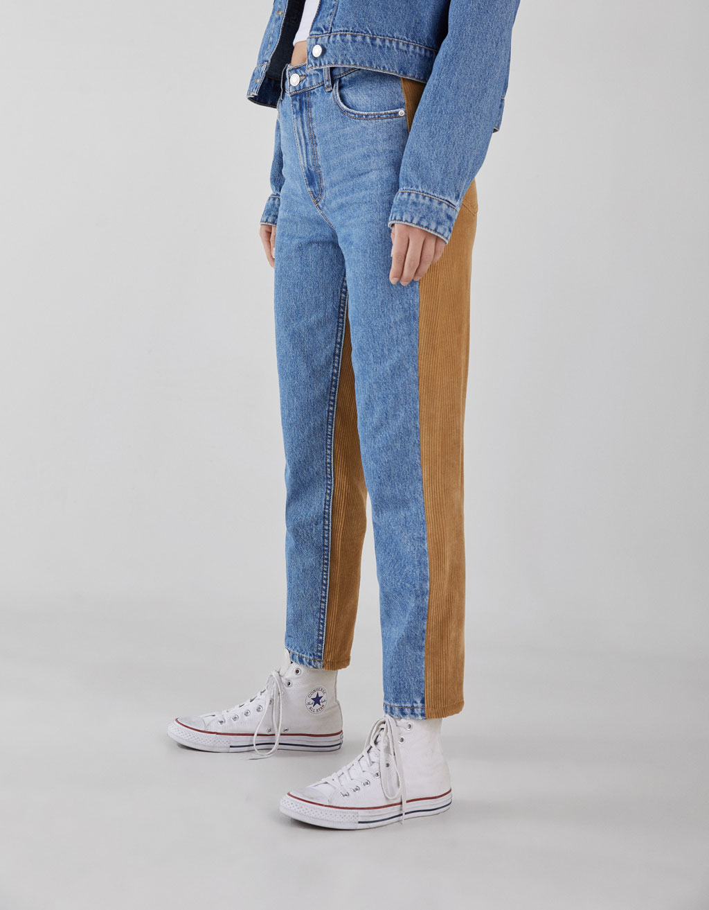 High rise mom jeans with corduroy detail