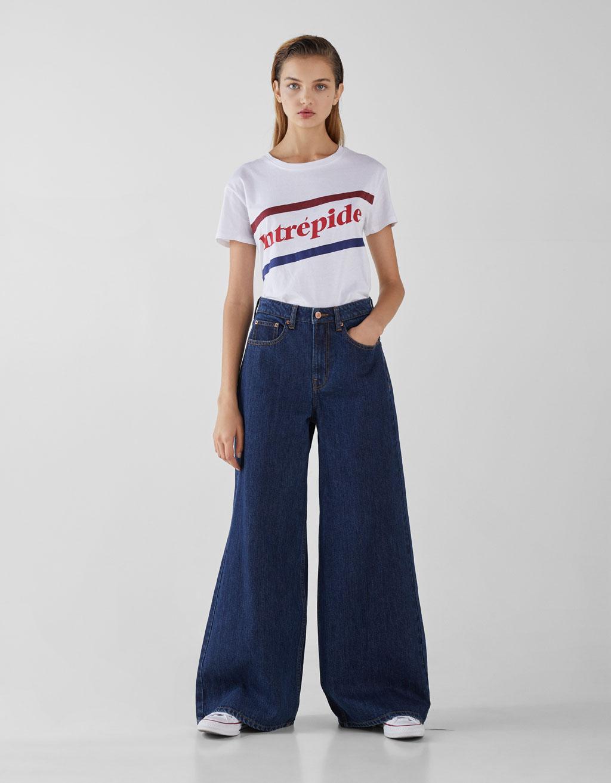 0f83efaf0e9e3 High waist wide-leg jeans - Jeans - Bershka Macedonia