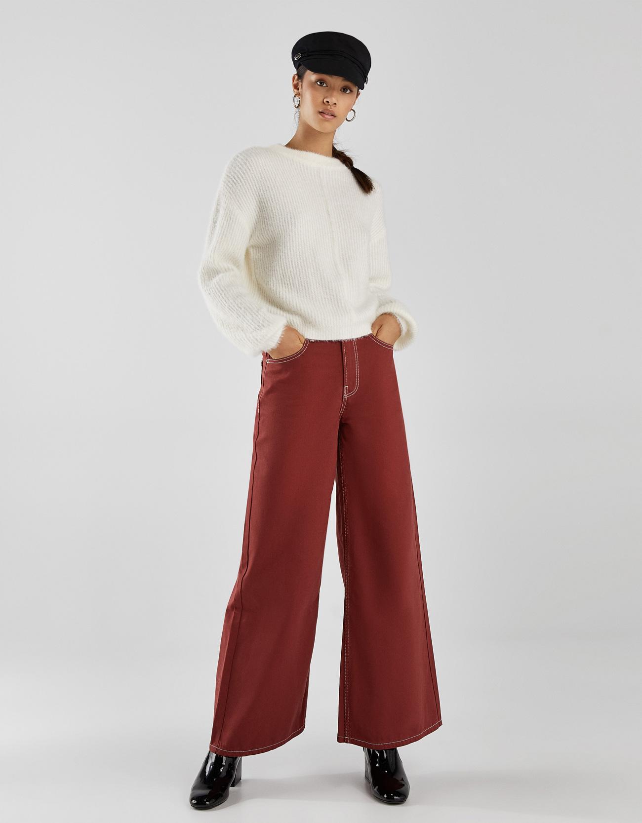 Jeans mit weitem Bein und hohem Bund
