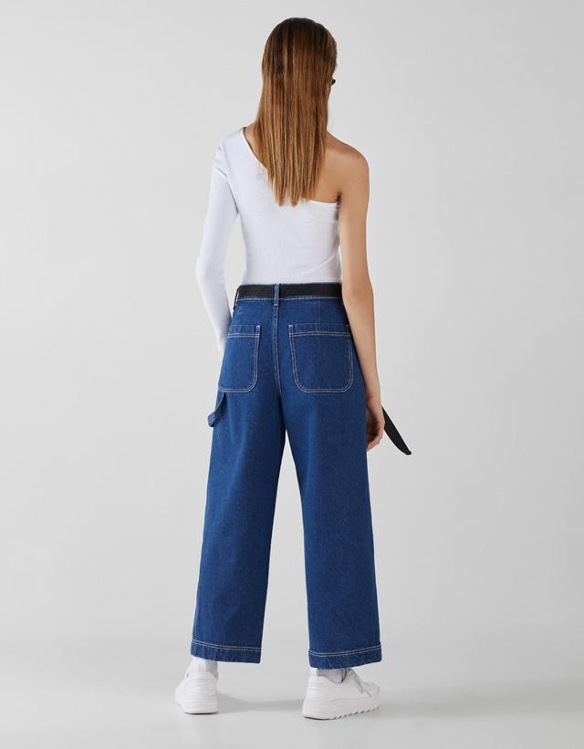 Culotte-Jeans mit halbhohem Bund