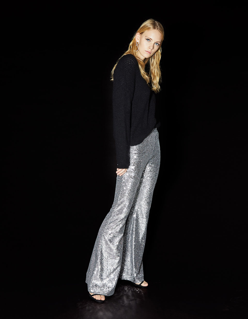 Sequined flared pants