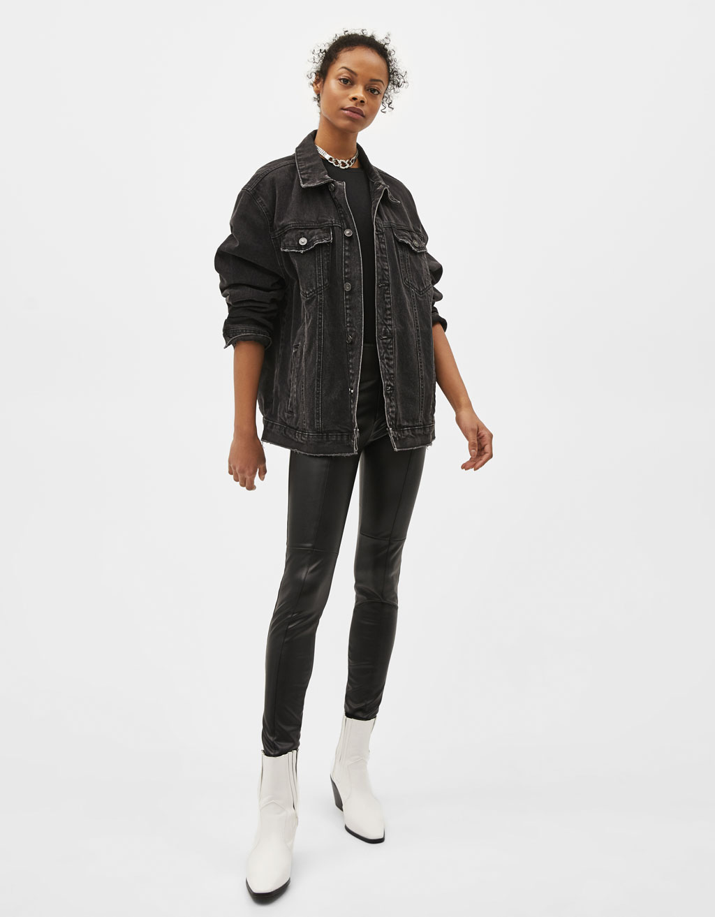 Leather Effect Fitted Trousers by Bershka