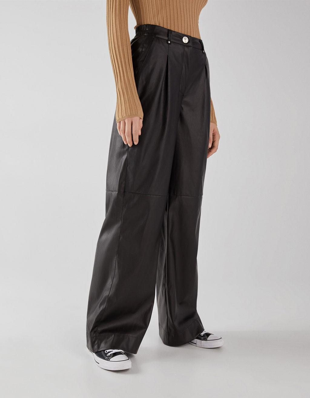 Faux leather wide fit trousers