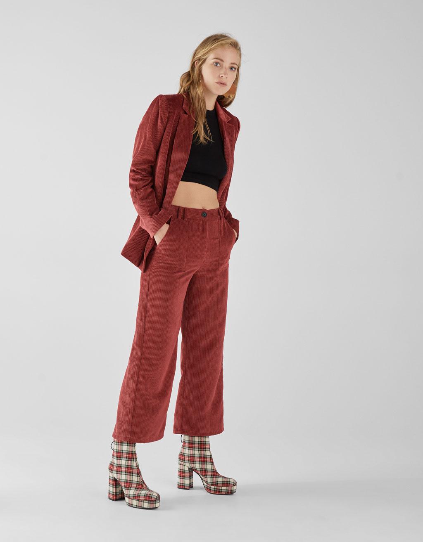 Vakosamettiset culottes-housut