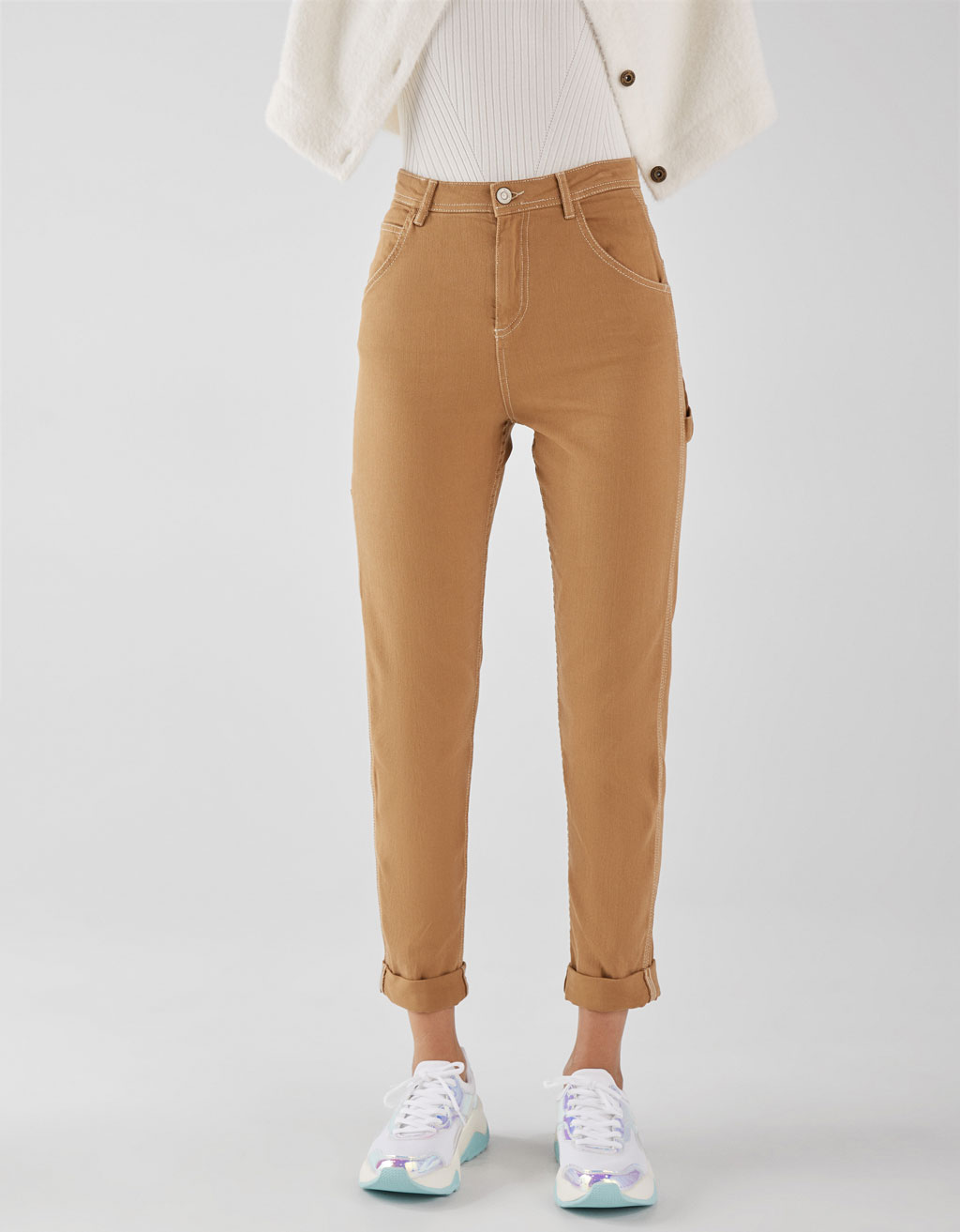 Pantalon contrastant coupe relaxed fit
