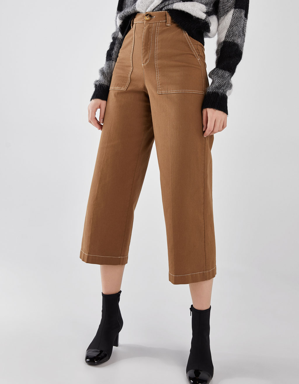 Culottes with contrasting topstitching