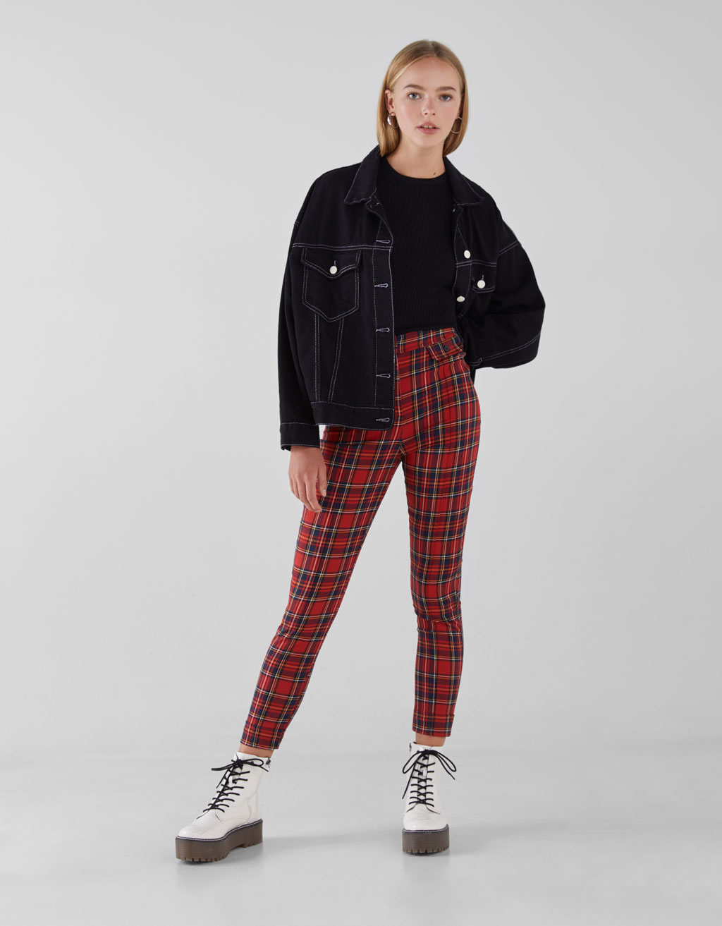 Red Check Skinny Trousers by Bershka