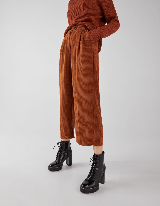Manšestrové Culotte kalhoty