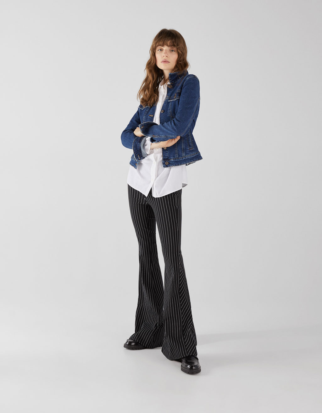 Flared pinstripe trousers