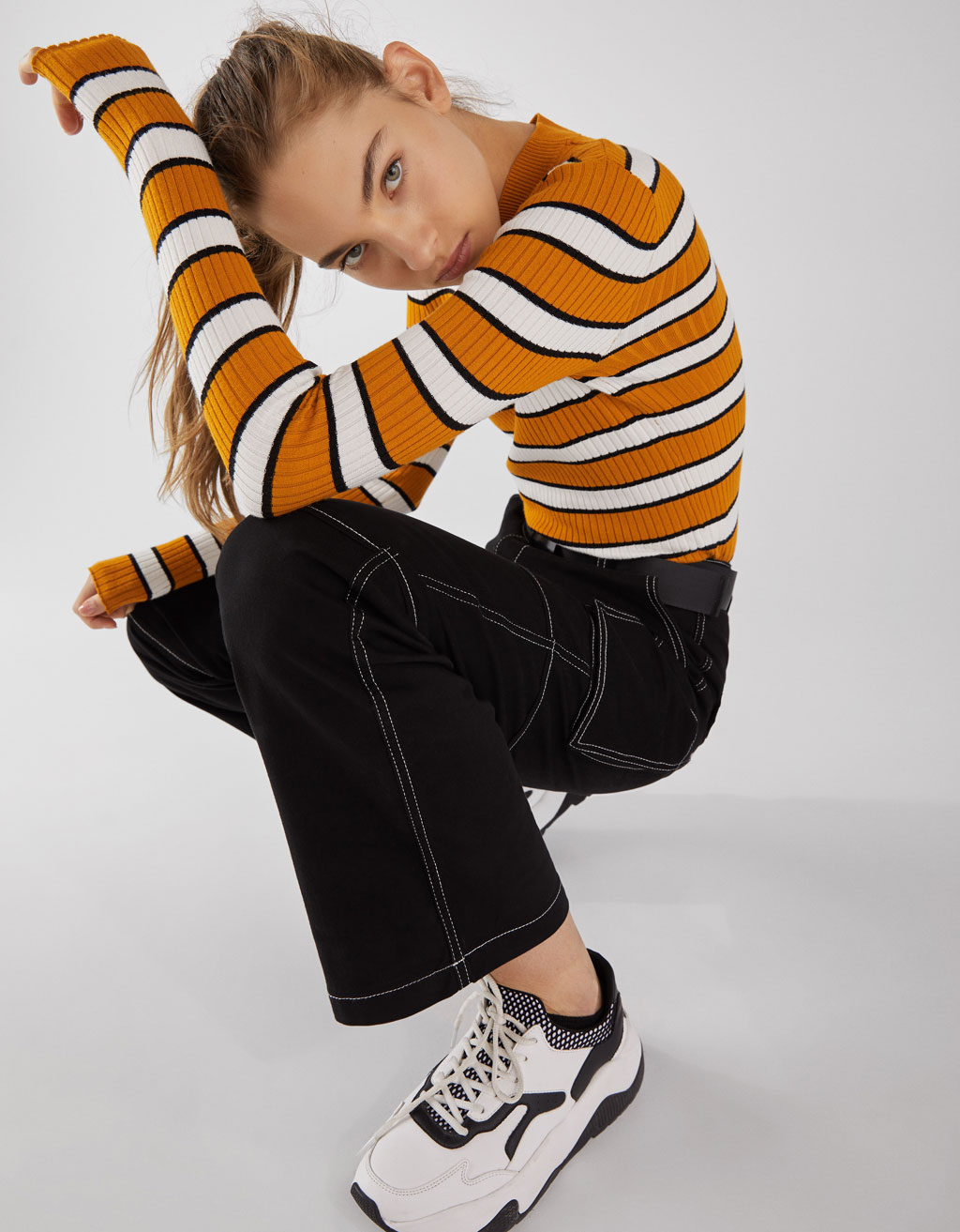 Utility Trousers With Contrasting Topstitching by Bershka
