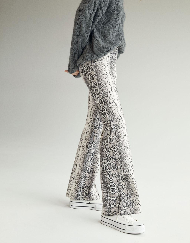 Snakeskin Print Flared Pants by Bershka
