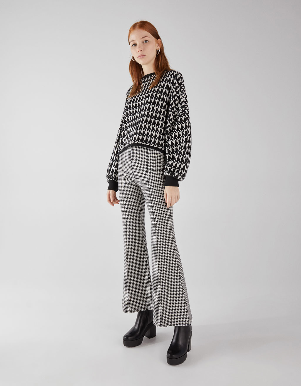 Houndstooth flared pants
