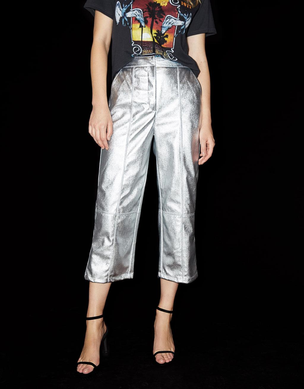 Culotte kalhoty stříbrné barvy