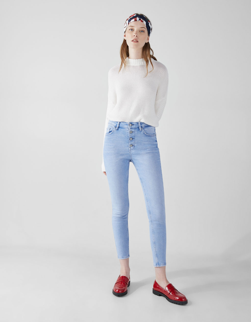 High waist skinny jeans with button fastening