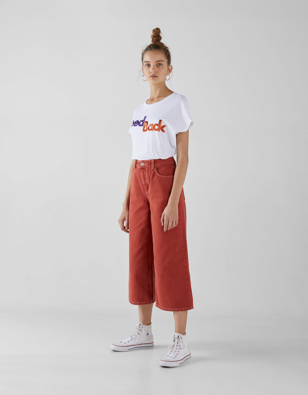 High waist denim culottes