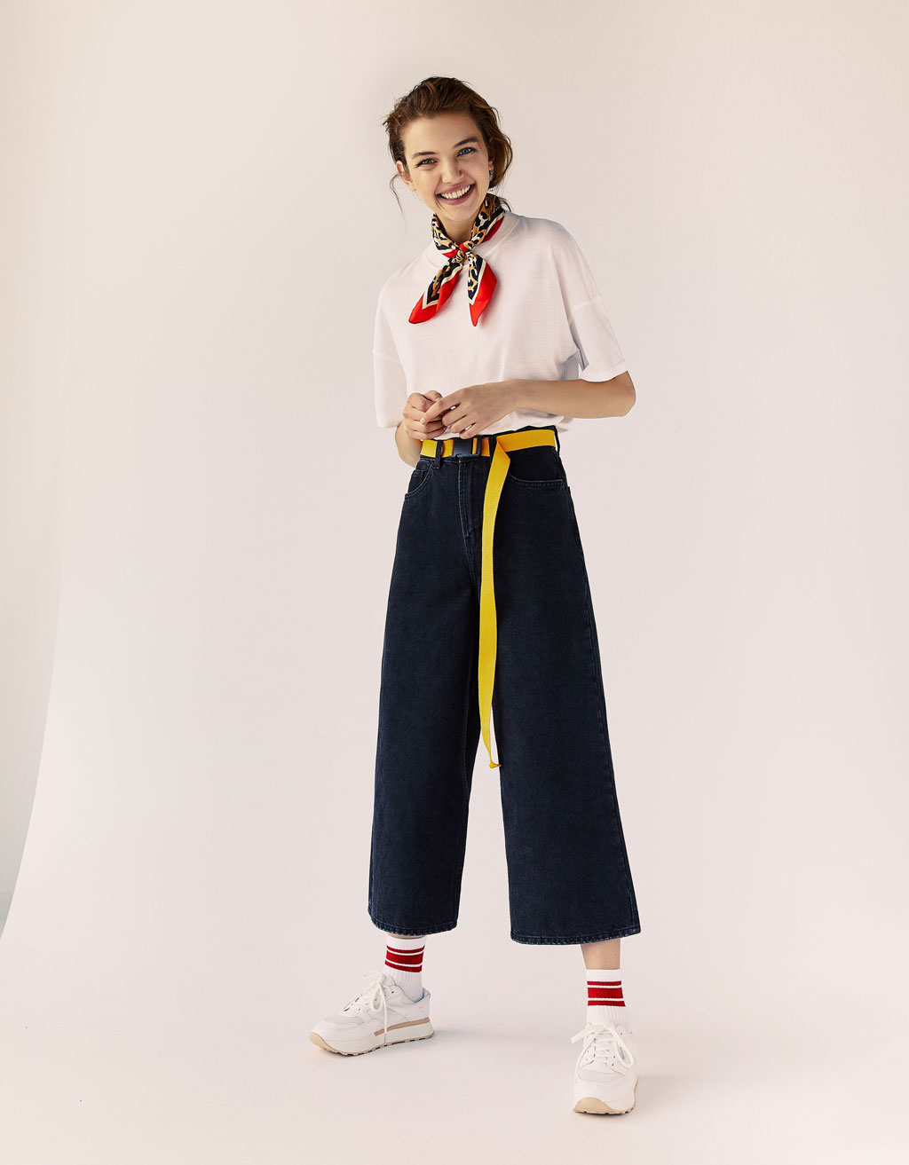 Pantaloni culotte in denim