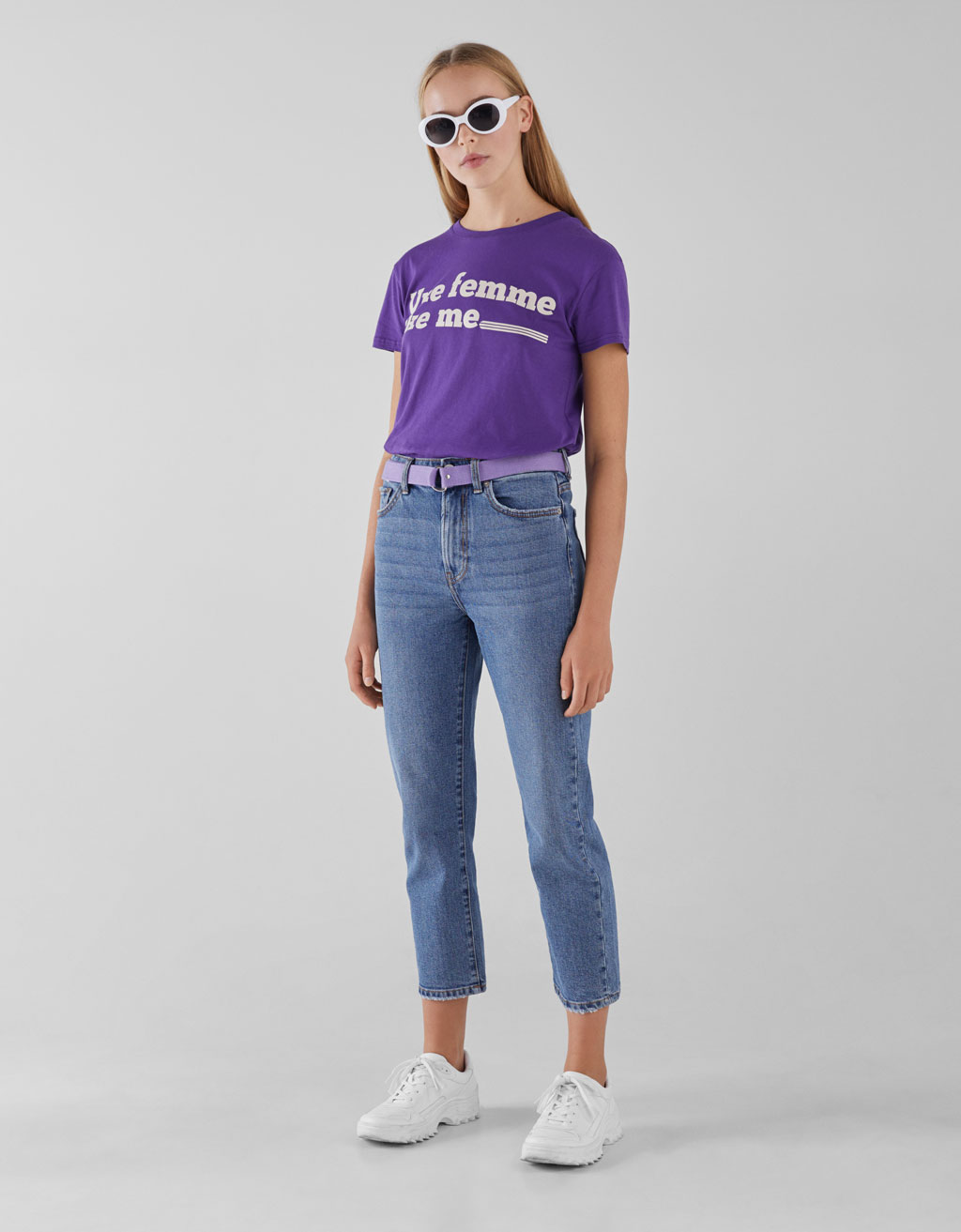 Jeans Straight Fit Con Cinturón by Bershka