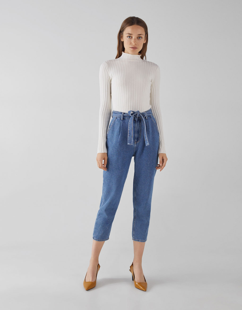 Paper bag high rise jeans with belt