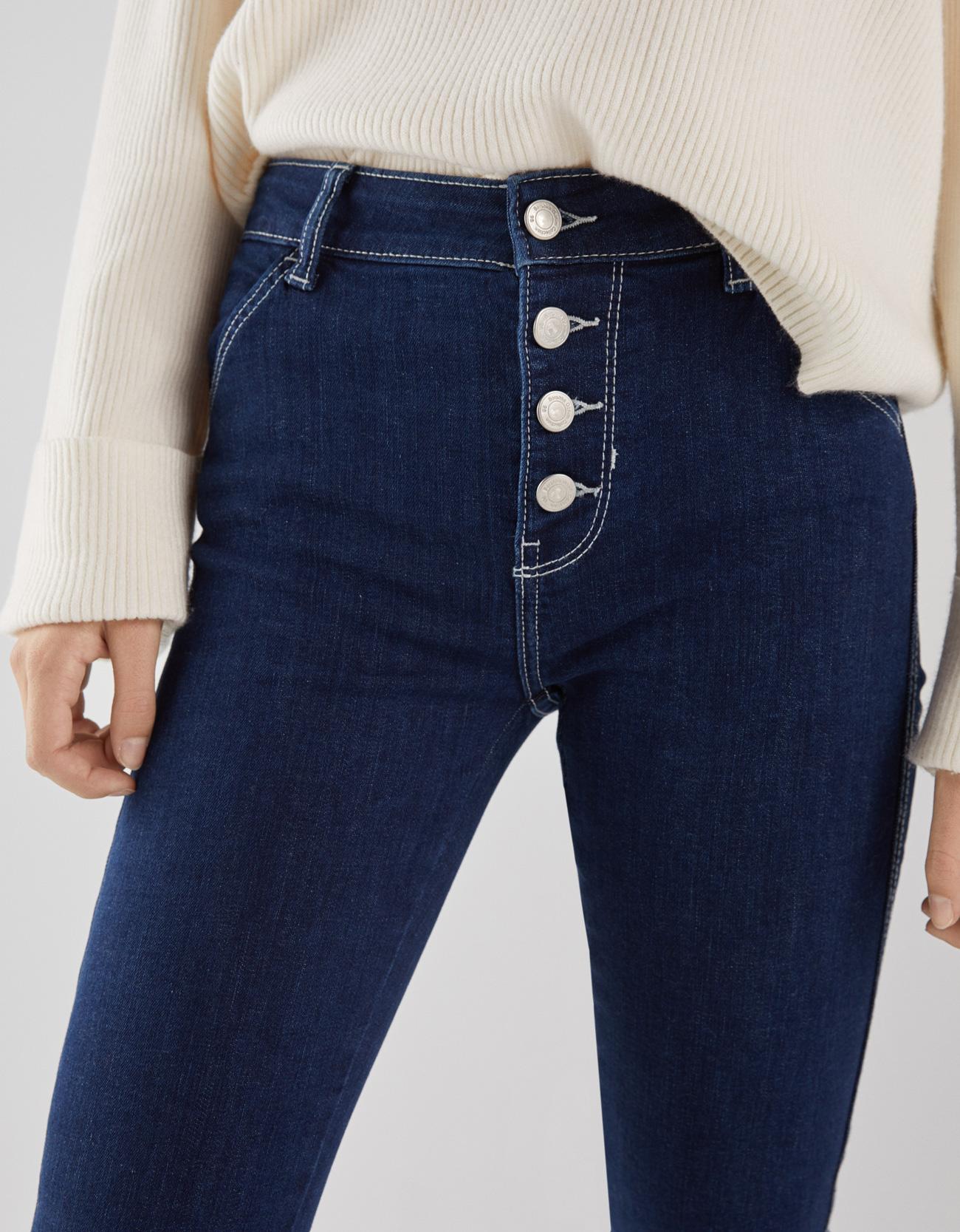 5bd874c3a56 Jeans Skinny Mid Rise con botones - Novedades - Bershka Mexico