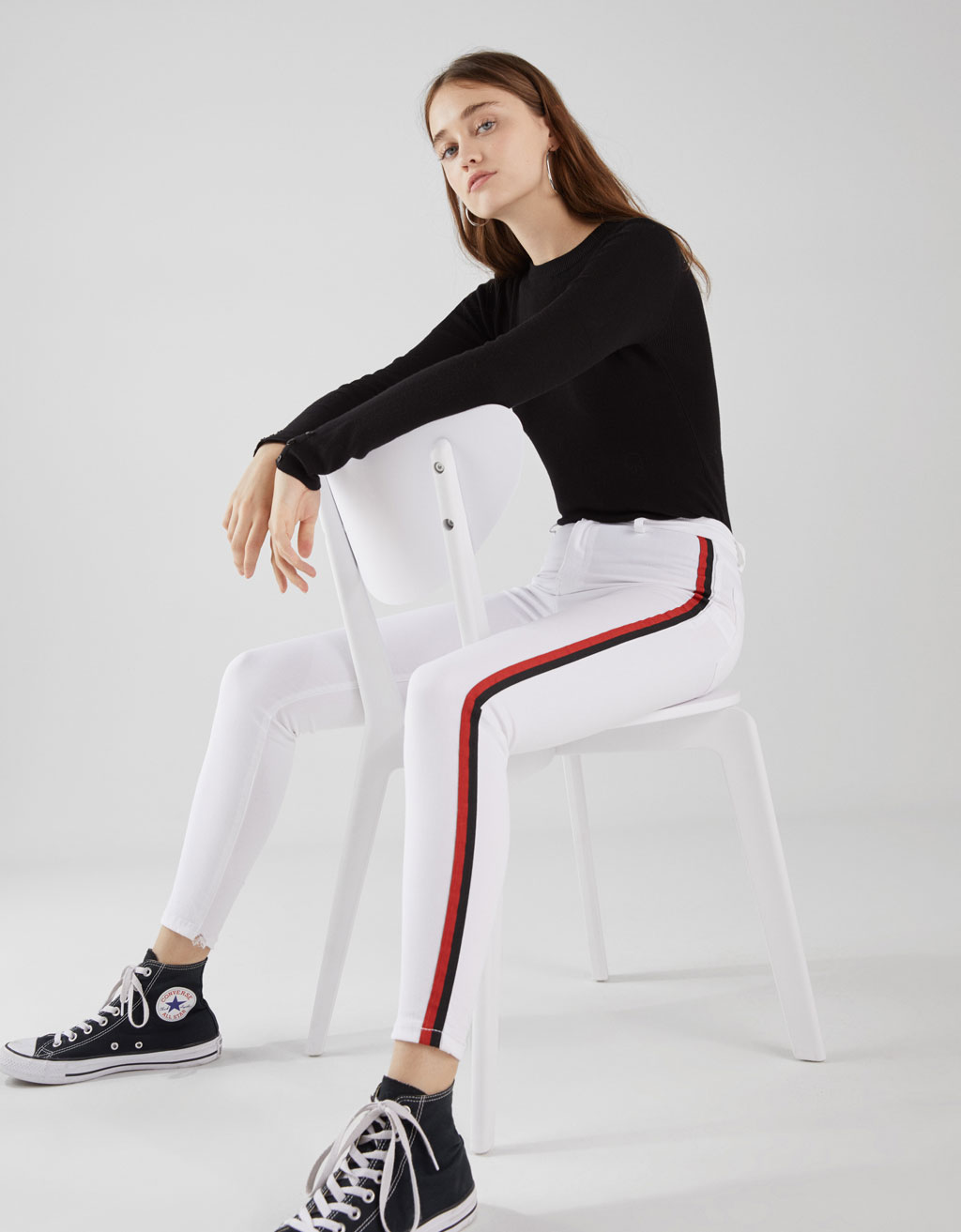Mid-rise trousers with side stripes