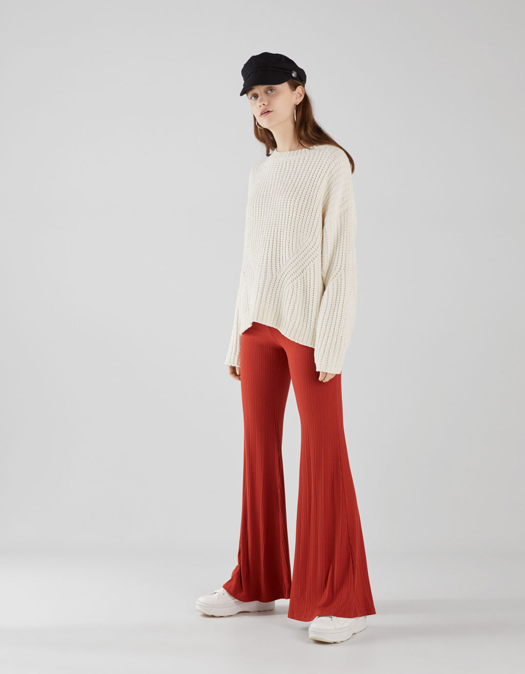 Flared ribbed trousers
